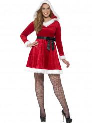 Disfarce vestido vermelho com laço preto mulher Natal
