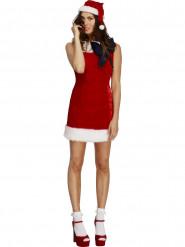 Disfarce vestido vermelho com laço preto sexy Natal