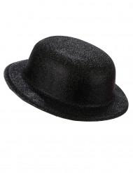 Chapéu de plástico brilhante preto adulto