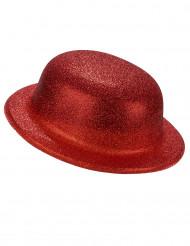 Chapéu melão brilhante vermelho de plástico - adulto