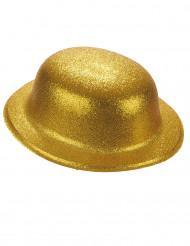 Chapéu coco plástico brilhante dourado adulto