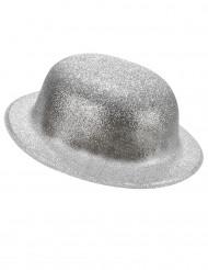 Chapéu coco plástico prateado adulto
