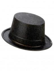 Chapéu de plástico preto brilhante adulto
