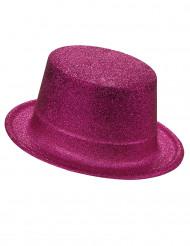 Chapéu alto plástico brilhante cor-de-rosa adulto
