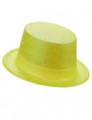 Chapéu alto plástico brilhante amarelo adulto