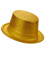 Chapéu alto plástico brilhante dourado adulto