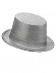 Chapéu alto plástico brilhante prateado adulto
