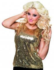 Top dourado com lantejoulas mulher