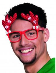 Óculos vermelhos rena adulto Natal