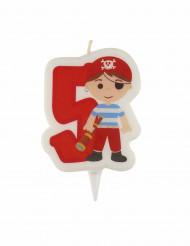 Vela de aniversário pirata dígito 5