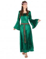 Disfarce medieval verde efeito veludo mulher