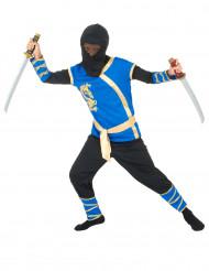 Disfarce ninja azul e dourado menino