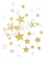 Confetis estrelas douradas e brancas