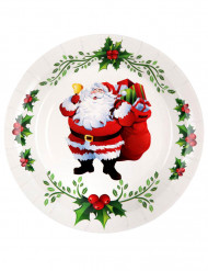 10 Pratos de cartão Pai Natal e azevinho 22.5 cm