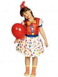 Disfarce palhaço às bolinhas coloridas menina