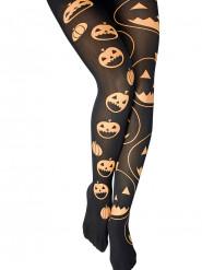 Collants pretos com abóboras mulher Halloween