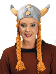 Capacete viking com tranças adulto