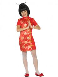 Disfarce vestido de chinesa vermelho e dourdao menina