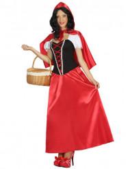 Disfarce vestido comprido capuchinho vermelho mulher