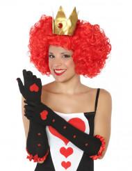 Luvas compridas rainha de copas pretas mulher