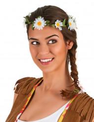Coroa de flores margaridas brancas adulto