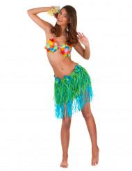 Saia havaiana curta verde e azul com flores adulto