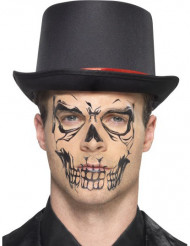 Tatuagem esqueleto preto adulto Halloween