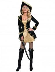 Disfarce pirata barroco preto e dourado mulher