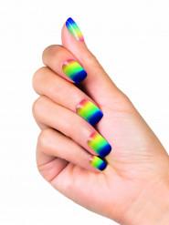 Unhas falsas adesivas arco-íris mulher