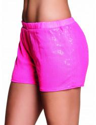 Shorty com lantejoulas cor-de-rosa fluo mulher