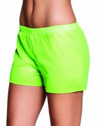 Shorty com lantejoulas verde fluo mulher