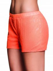 Shorty com lantejoulas cor de laranja fluo mulher