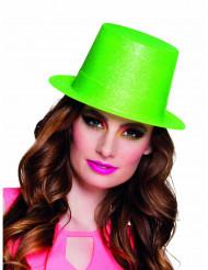 Chapéu alto verde fluo brilhante adulto