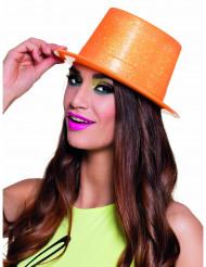 Chapéu alto plástico cor de laranja fluo brilhante adulto