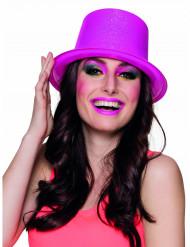 Chapéu alto cor-de-rosa fluo com púrpurinas adulto