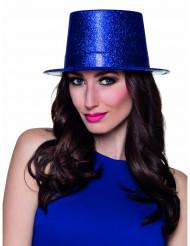 Chapéu alto azul brilhante adulto