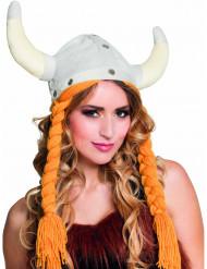 Chapéu viking com tranças adulto