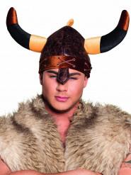 Capacete viking castanho adulto