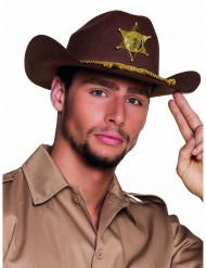 Chapéu xerife castanho adulto