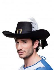 Chapéu mosqueteiro preto adulto