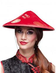 Chapéu chinês vermelho adulto