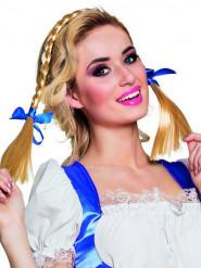 Bandolete com tranças e laços azuis mulher