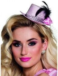 Mini chapéu cor-de-rosa anos 20 mulher