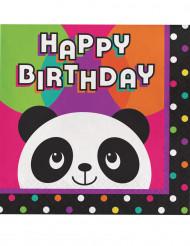 16 Guardanapos de papel Happy Birthday Panda Party