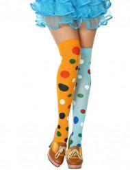 Meias às bolas coloridas palhaço mulher