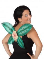 Asas verdes brilhantes com flor fada mulher