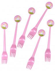 6 garfos de plástico Unicórnio Girly