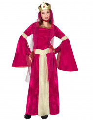 Disfarce rainha medieval vermelho e dourado menina