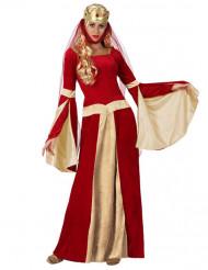 Disfarce Dama medieval vermelho e dourado mulher
