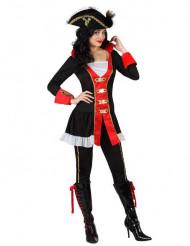 Disfarce pirata mulher vermelho e preto